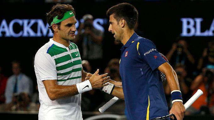 Im Endspiel: Novak Djokovic (r.) ließ Altstar Roger Federer wieder einmal kaum eine Chance.