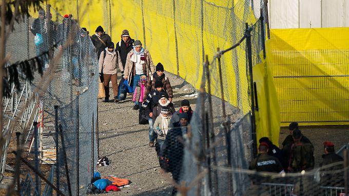 Flüchtlinge laufen in der Nähe von Spielfeld an einem Zaun an der slowenisch-österreichischen Grenze entlang.