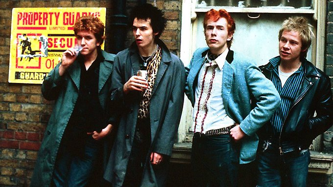 "Die ""Sex Pistols"" 1978 in London: Gitarrist Steve Jones, Bassist Sid Vicious, Sänger Johnny Rotten und Schlagzeuger Paul Cook."