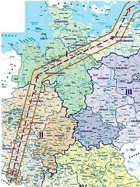 Vom Saarland über das Ruhrgebiet an Hamburg vorbei nach Rügen: Der vom US-Militär beantragte Korridor überquert fünf Bundesländer.