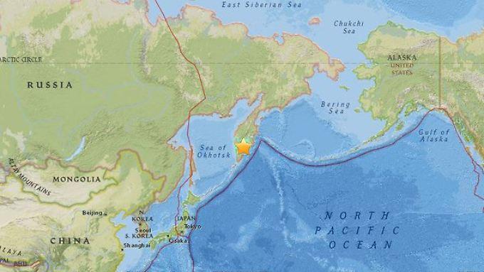 das Epizentrum des Bebens liegt im Süden der russischen Pazifik-Halbinsel Kamtschatka.