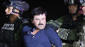 "Drogenboss Joaquín ""El Chapo"" Guzmán nach seiner Festnahme am 8. Januar."