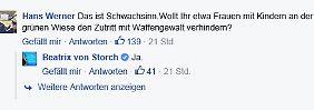 Auf Facebook bejahte von Storch eine Frage nach dem Einsatz von Waffen gegen Frauen und Kinder.