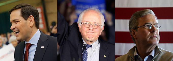 Zwei Sieger und ein Verlierer: Marco Rubio, Bernie Sanders und Jeb Bush. (v.l.)