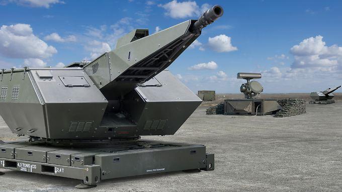 """Allwetter-Nahbereichs-Flugabwehr: Das System """"Oerlikon Skyshield"""" kombiniert Schnellfeuergeschütze mit Spezialmunition und automatischem Feuerleitradar (Grafik)."""