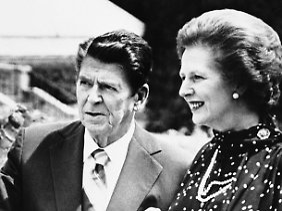 Verstanden sich politisch sehr gut: Ronald Reagan und Margaret Thatcher (Archivbild von Juli 1981).
