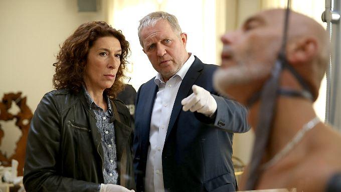 """""""Sieht mir nach einem autoerotischen Unfall aus ..."""": Adele Neuhauser als Bibi Fellner und Harald Krassnitzer als Moritz Eisner im Wiener """"Tatort""""."""