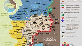 Das ukrainische Verteidigungsministerium veröffentlicht regelmäßig Karten über die Situation in der Ostukraine.