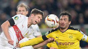 Gegen tapfer kämpfende Stuttgarter sahen Mats Hummels und sein BVB nicht immer gut aus.