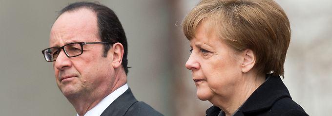 Deutschland und Frankreich sind immer noch wichtige politische Partner, aber in der Flüchtlingskrise kann sich die deutsche Kanzlerin kaum auf Präsident Hollande verlassen.