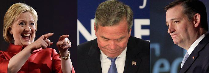 Clinton vergnügt, Bush kapituliert, Cruz unzufrieden - die Ergebnisse bei den Vorwahlen in Nevada und South Carolina waren nicht für jeden der Präsidentschaftsbewerber erfreulich.