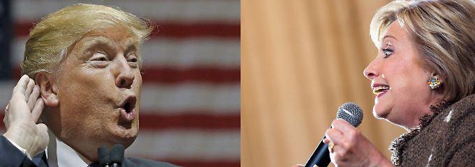 Haben zurzeit die besten Chancen auf eine Präsidentschaftskandidatur: Donald Trump und Hillary Clinton.