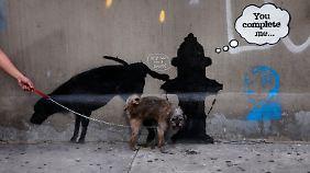 Wildpinkeln für alle - dieser Hund machte davon illegalerweise schon vorher an diesem Graffito von Banksy Gebrauch.