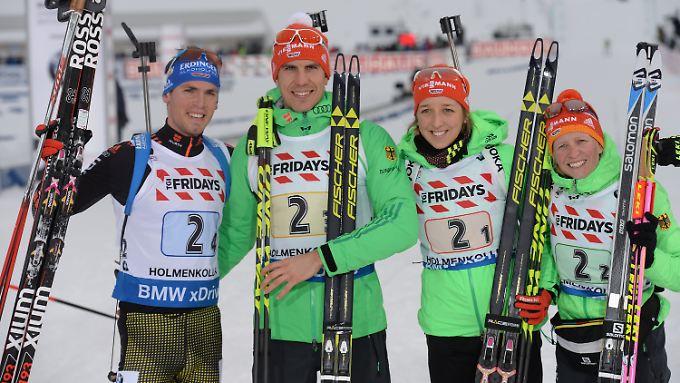 Gelungener Auftakt: Simon Schempp, Arnd Peiffer, Franziska Preuß und Franziska Hildebrand.