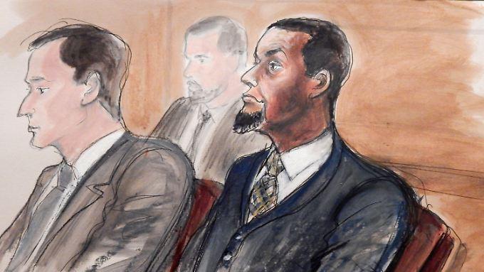 Terror-Sympathisant ja - aber auch Terrorist in spe? Zeichnung von Tairod Pugh im Gerichtssaal.