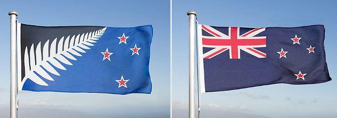 Die neue Flagge (l.) konnte die Neuseeländer nicht überzeugen.