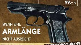 Mit einem Spruch, der auf die Kölner Silvesternacht anspielen soll, wirbt der Laden für eine Schreckschusspistole.