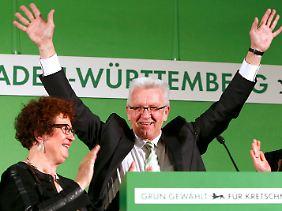 """Ministerpräsident Kretschmann: """"Die Baden-Württemberger haben noch Mal Geschichte geschrieben und die Grünen zur stärksten Kraft im Lande gemacht."""""""