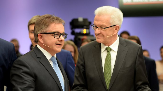 Grün-Schwarz hätte eine Mehrheit im Landtag. Der Spitzenkandidat der CDU, Guido Wolf, und Ministerpräsident Winfried Kretschmann.