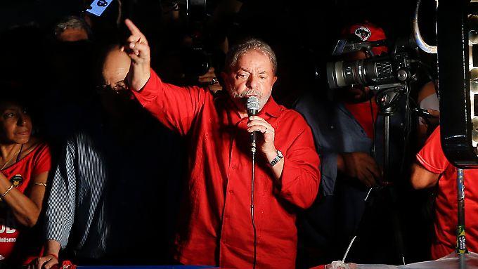 Lula bei seiner Rede am Freitag in Sao Paulo.