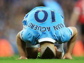 Auch Citys Sturmstar Sergio Agüero konnte die Heimpleite gegen Manchester United nicht verhindern.