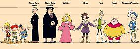 Figurinen für einige der Protagonisten der Serie.