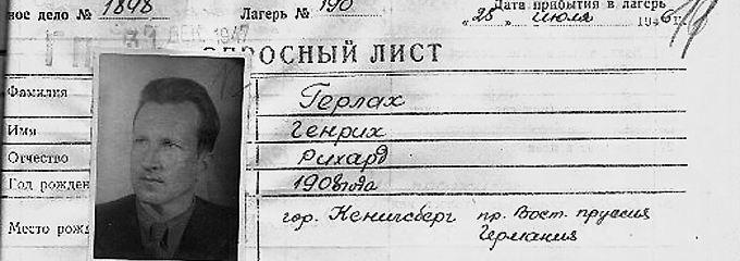 Gerlachs Registerkarte als Kriegsgefangener.