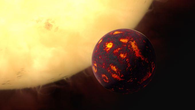 Künstlerische Darstellung von der Super-Erde 55 Cancri e, die ganz nah um ihren Heimatstern kreist.