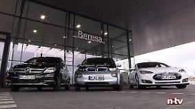 Stromer im Reichweitentest: BMW i3 gegen Tesla Model S und Mercedes B-Klasse