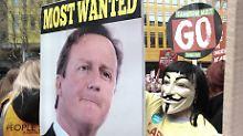 Eine Demonstration gegen Cameron.