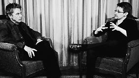 Der Musiker und der Whistleblower: Jean Michel Jarre (l.) und Edward Snowden.