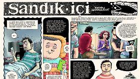 """Eine jüngere Generation türkischer Comiczeichner verpackt ihre Satire in Comicgeschichten. Hier: """"Sandık içi"""" von Ersin Karabulut, erschienen in der Zeitschrift """"Uykusuz"""" (Schlaflos)."""