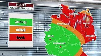 Unwetterkarte für Dienstag: Südwesten im grünen Bereich, Gewitter in Nord- und Südost
