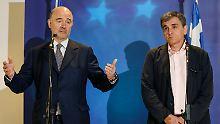 Pierre Moscovici und Euklid Tsakalotos erklären die Entscheidung zu Griechenland.