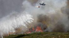 Um den Buschband in der Nähe des Strandhotels in La Linea unter Kontrolle zu bringen, musste auch ein Löschflugzeug eingesetzt werden.