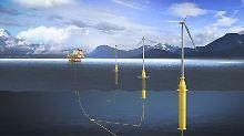 So könnten die schwimmenden Windkraftanlagen aussehen.