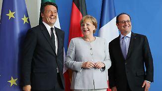 Krisengipfel in Italien: Merkel, Hollande und Renzi wollen Europa retten