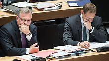Schlechte Stimmung: Michael Müller (rechts) will keine Weiterführung der Koalition mit Frank Henkels CDU.