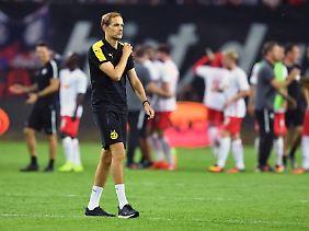 Dortmunds Trainer Thomas Tuchel haderte mit der Schiedsrichterleistung in Leipzig.