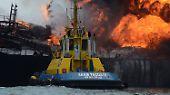 """Brennender Öltanker vor Mexiko: Feuer an Bord der """"Burgos"""""""