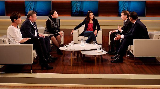 Zu Gast bei Anne Will waren an diesem Sonntag Cathrin Kahlweit, Péter Györkös, Lamya Kaddor, Sebastian Kurz sowie Cem Özdemir (von links).