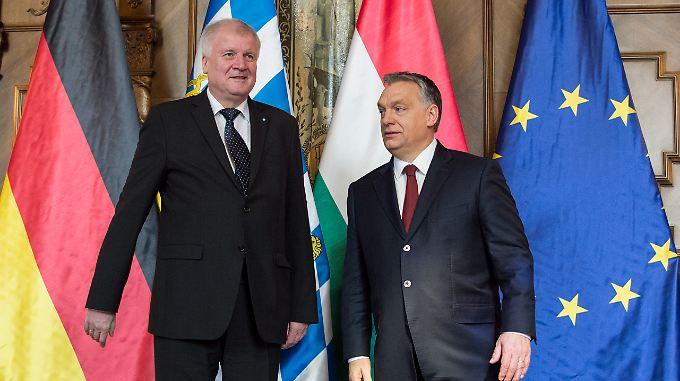 Verstehen sich gut: Seehofer und Orban Anfang März in Budapest.