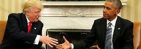 Zusammentreffen im Weißen Haus: Obama und Trump geben sich die Hand