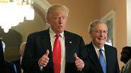 Vorausgesetzt es gibt keinen Knatsch zwischen Weißem Haus und Kapitol. Um dem vorzubeugen trifft Trump dann auch noch den Mehrheitsführer im Senat, Mitch McConnell, der ebenfalls Republikaner ist.