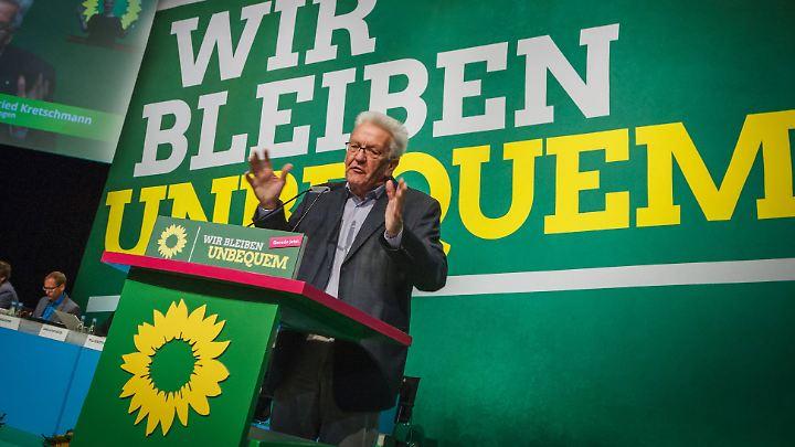 Winfried Kretschmann warb in seiner Rede auf dem Bundesparteitag gegen die Vermögenssteuer. Er will als Ministerpräsident den baden-württembergischen Mittelstand schützen.