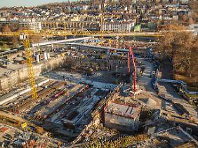 Großbaustelle des Bauprojektes Stuttgart 21.