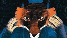 Louis setzt seine Fuchs-Maske auf - und wird zum Tier.