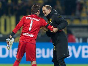 Klar auf Kuschelkurs: BVB-Trainer Thomas Tuchel nach dem 4:1 gegen Gladbach.