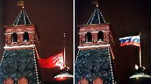 25. Dezember 1991, 19.32 Uhr Moskauer Zeit: Die sowjetische Flagge wird eingeholt, und die russische Trikolore wird gehisst.
