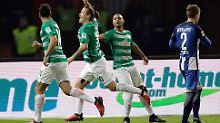Max Kruse brachte Bremen gegen Hertha in der ersten Halbzeit mit 1:0 in Führung.